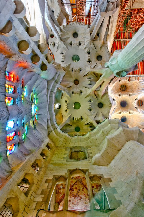 The interior of Sagrada Familia, Barcelona, Spain. Architecture by Antonio Gaudi. Thisis on our agenda to see.