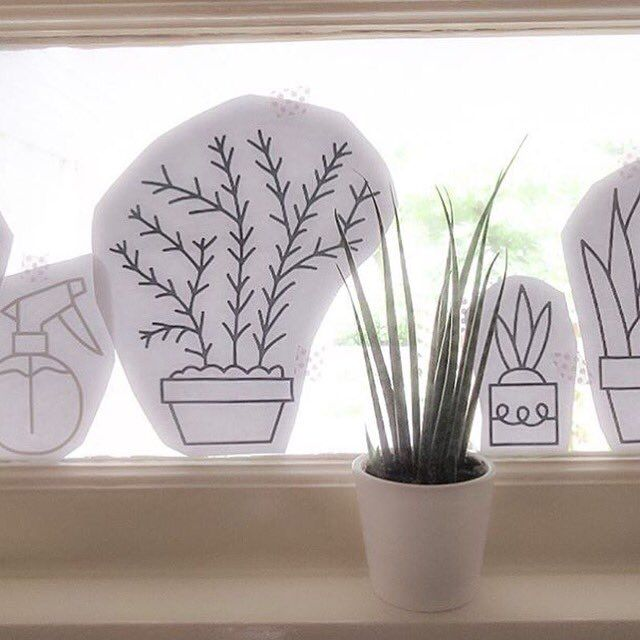 Plantjes #raamtekening door Janita J.
