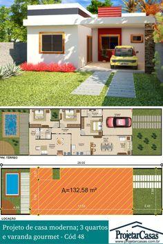 Projeto de casa modera em linhas retas, com varanda gourmet, podendo ser construída em terreno acima de (8X25)m.