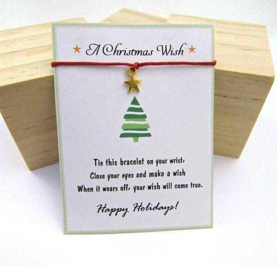 Wish Bracelet Make a wish bracelet Christmas Wish Bracelet message card Merry Christmas Card Christmas Gift Friendship Bracelet Gift for her
