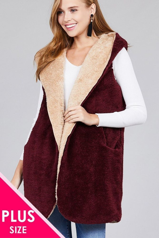 e02214d9047 Burgundy Khaki Winter Plus Size Faux Fur Fluffy Vest  fashion  clothing   shoes  accessories  womensclothing  coatsjacketsvests (ebay link)