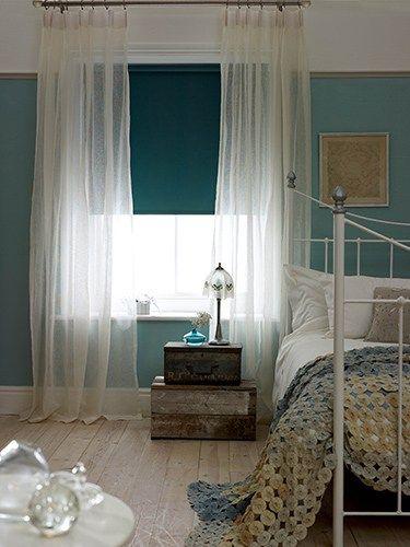 Essential Linen Voile Curtain & Lumiere Deep Teal Roller Blind