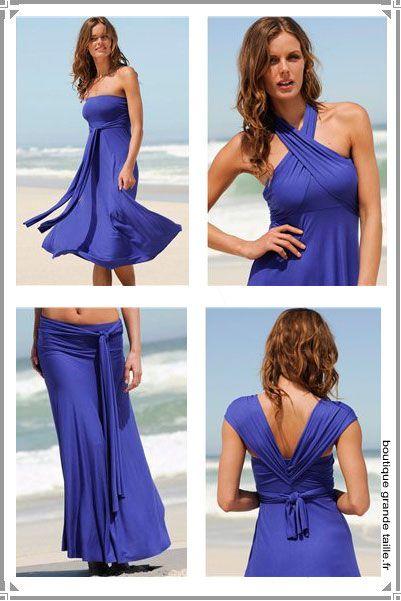 Robe jupe transformable, article idéal pour la plage. 2 en 1 robe jupe longue drapée sur les hanches se transforme en robe à nouer de 3 façons différentes comme sur la photo, en grande taille du 44 au 54