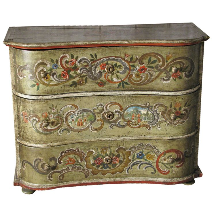 Painted 18th century Swiss Rococo Commode - 242 Best ~*~ The Art Of Painted Furniture ~*~ Images On Pinterest