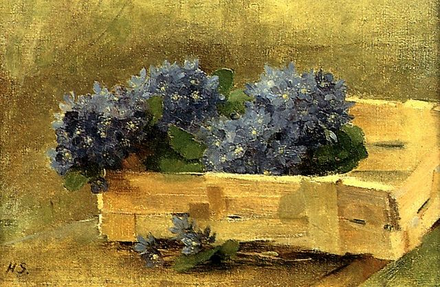 Helene Schjerfbeck, Blue Anemones in a Chip Basket 1886