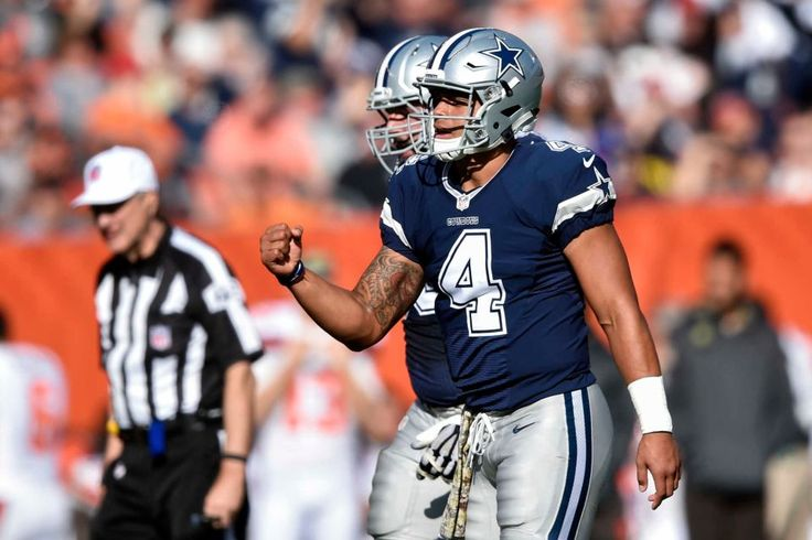 Cowboys vs. Browns:  35-10, Cowboys  -  November 6, 2016  -   Dallas Cowboys quarterback Dak Prescott (4) reacts after tight end Jason Witten scored a touchdown in the first half of an NFL football game against the Cleveland Browns, Sunday, Nov. 6, 2016, in Cleveland. (Credit: AP / David Richard)