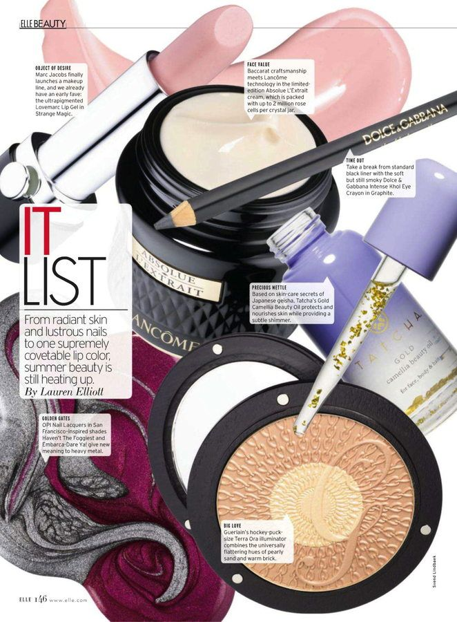 Elle magazine beauty editorial page products, still life shots.