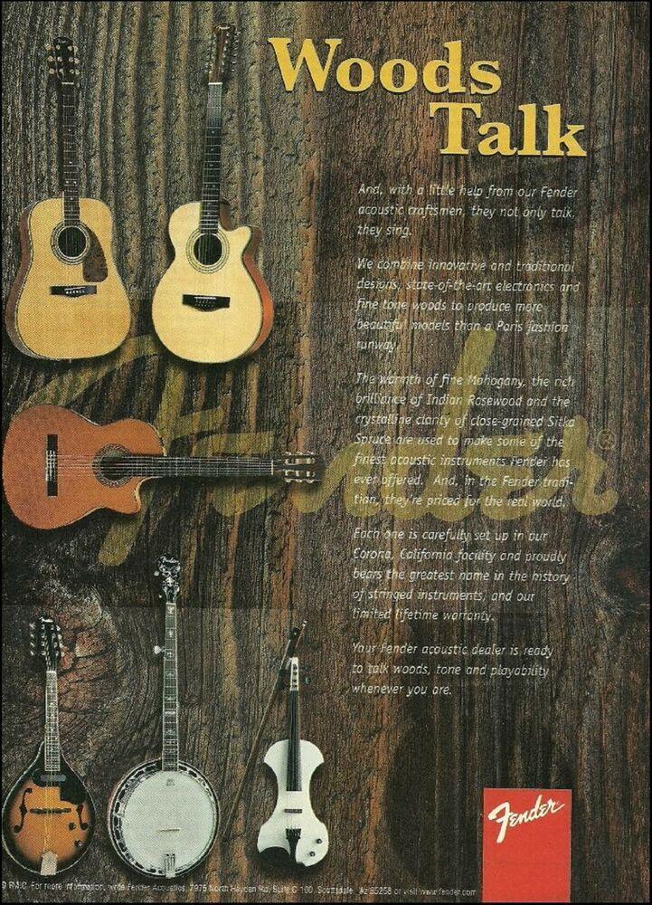 Fender Woods Series Acoustic Guitars 1999 Ad 8 X 11 Guitar Advertisement Print Fender Ovation Guitar Fender Guitar Amps Acoustic Guitar