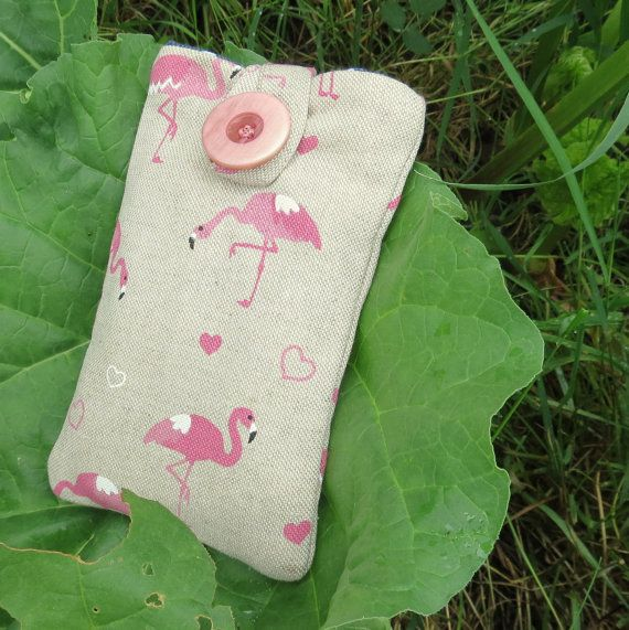 Flamingos.  A mobile phone sleeve.  Mobile cover.