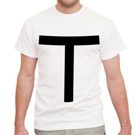 Men's the 'T' solid black typography white t-shirt. Visit www.hardtofind.com.au for more fabulous and affordable gifts for men. #fashion #giftsfordad #dad #gift #him #boyfriend Father's Day hard to find monochrome style
