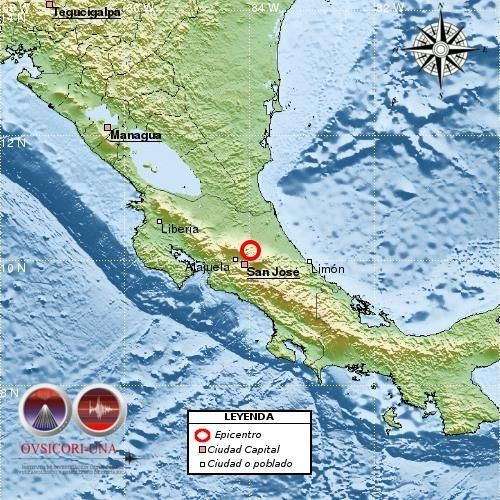 31 October 2015.  Small tremors shake Costa Rica's Central Valley.