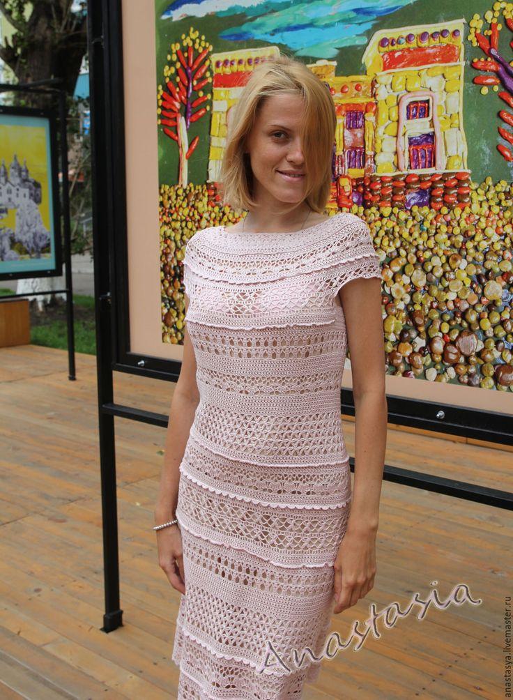 """Купить Платье вязаное """"Розовый шелк"""" - бледно-розовый, абстрактный, платье шелковое крючком"""