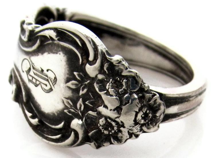 Sterling Silver Size 8 Demitasse Spoon Ring B Monogram ...