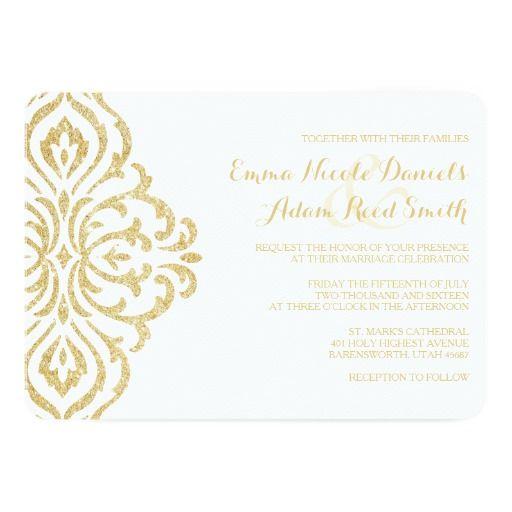 297 best hollywood wedding invitations images on pinterest wedding gold vintage glamour elegance wedding invitation stopboris Choice Image