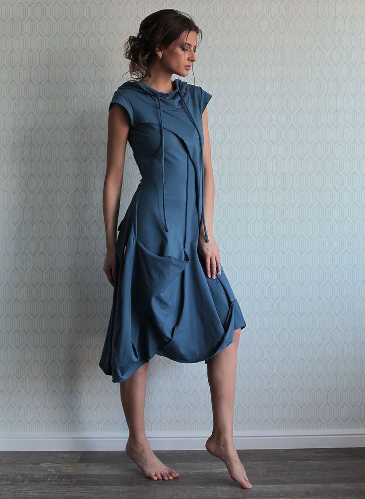 """Купить Платье """"Купол - Небо после дождя"""" с короткими рукавами - голубой, платье, платье трикотажное"""