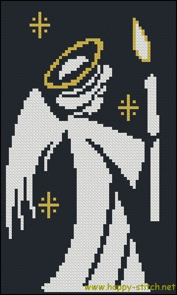 Little angel with a candle free cross stitch pattern