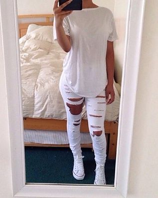 This outfit has an all white t-shirt, white ripped jeans and white converse. This outfit would be useful for when I go to an all white party.