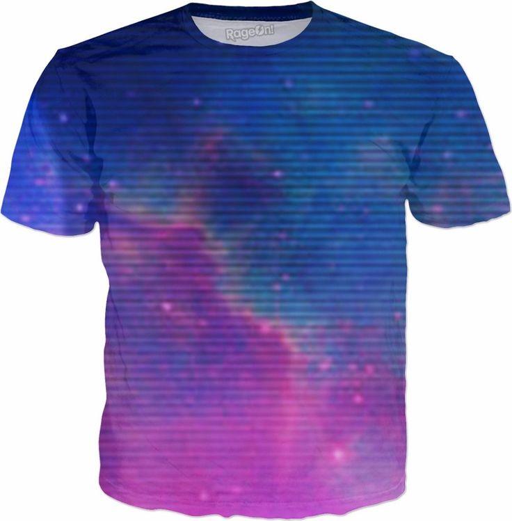 Electric Universe Sky Men's T-Shirt Clothing 1980's vintage style rad galaxy vaporwave Japan Hip Hop Street Style Wear music nostalgia purple pink glow grid time travel sci fi blue moon lightning