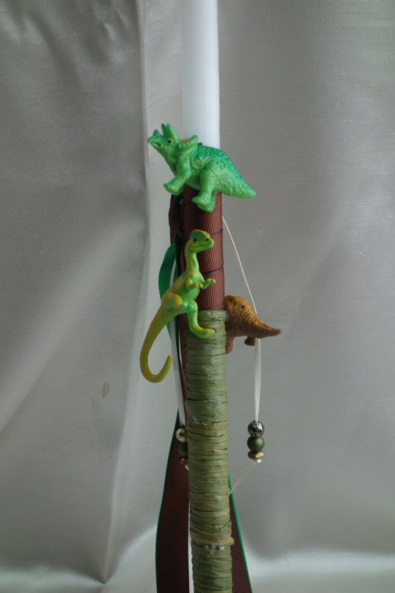 Dinosaurs Easter Candle-Labada by pinelopiCreations on Etsy