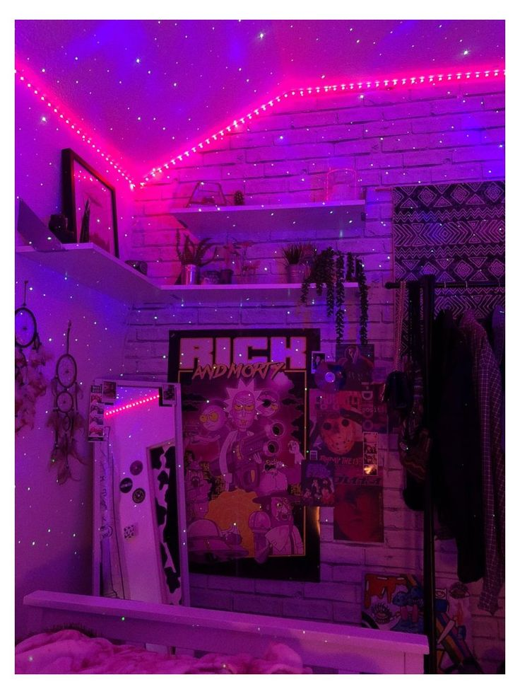 bedroom tik tok posters micah aesthetic neon indie grunge led teen makeover inspo vibey cozy vibe