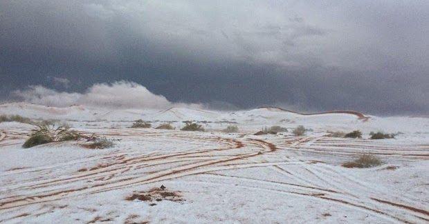 Salju Kembali Lagi Turun Di Arab Saudi, Jadi ingat Hadist Nabi berikut yang bikin merinding ...