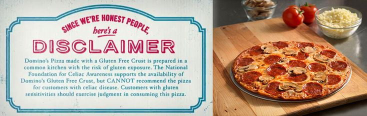 Domino's gluten free pizza crust review :) Domino's should really sell these crusts everywhere. The crust itself is safe when not prepared and topped in the store.