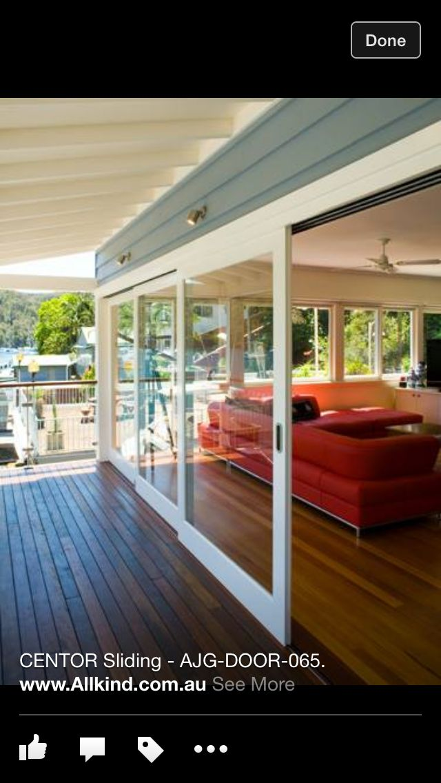 Rambler Interior/Exterior: Sliding doors to covered patio living space