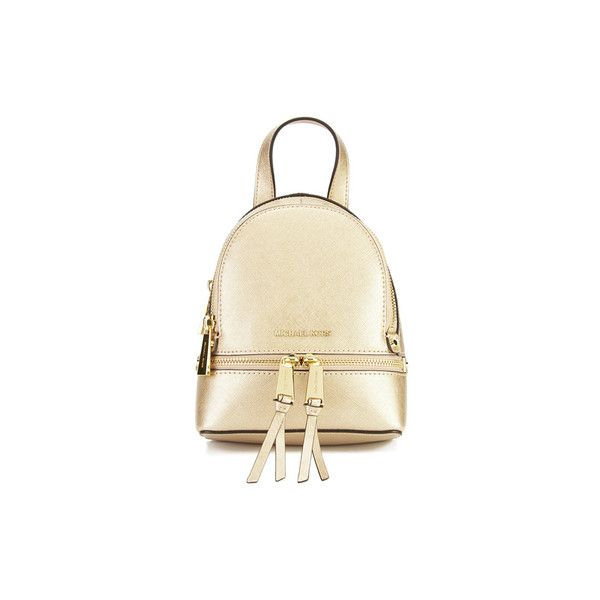 MICHAEL MICHAEL KORS Rhea Zip Small Crossbody Backpack - Gold (€235) ❤ liked on Polyvore featuring bags, backpacks, zipper backpack, zipper crossbody bag, day pack backpack, gold backpack and gold crossbody