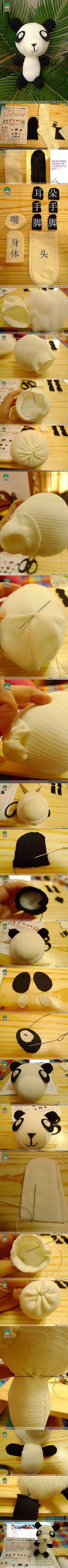 DIY Sock Panda Doll DIY Sock Panda Doll by diyforever