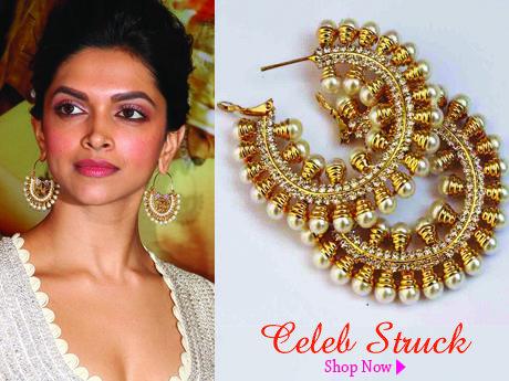 Deepika Padukone's Ramleela Inspired earrings that I am crushing on! #Chandbalis #Kundan #ethnicearrings #theindianspring
