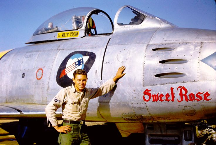 Crew chief Wally Yocum Jr with FU-539 F-86F sabre jet. 336th Fabulous Rocketeers.