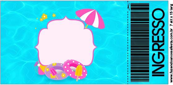 Convite Ingresso Pool Party Menina