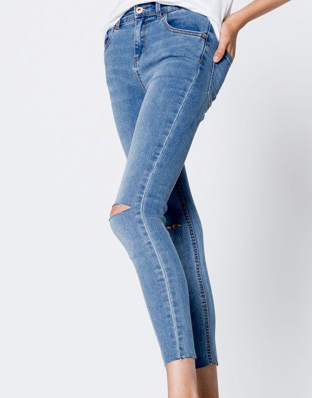 Pull&Bear - woman - new - clothing - capri jeans - medium blue - 09686336-I2016