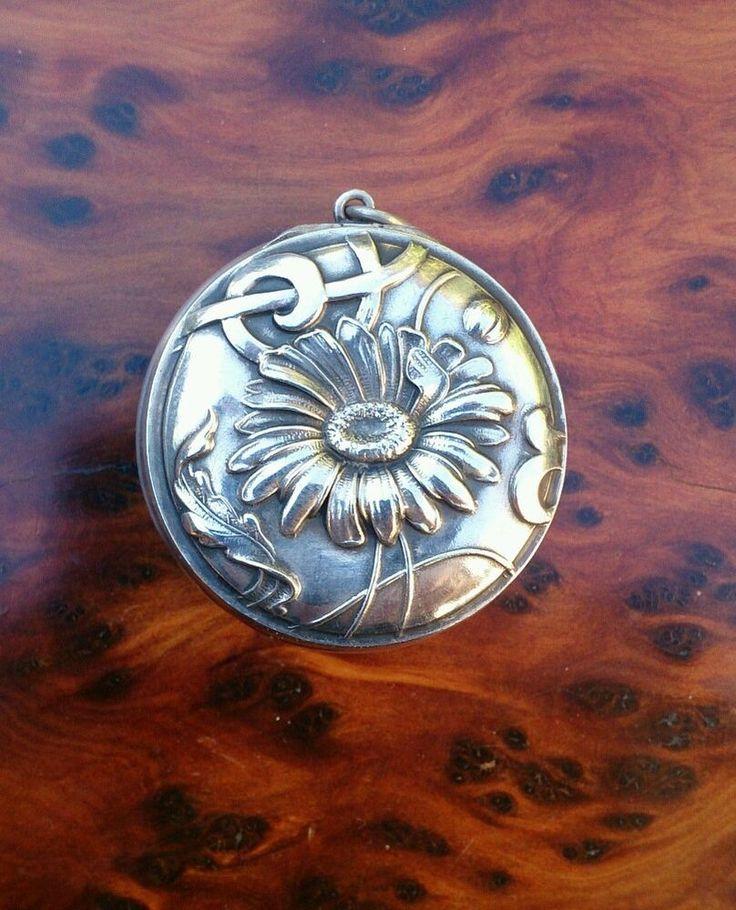 Pendentif ancien argent massif poudrier miroir bo te art for Miroir art nouveau
