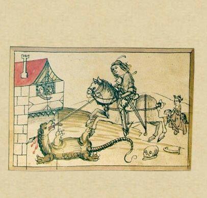 Der hl. Georg  Der hl. Georg tötet den Drachen, um die Prinzessin zu retten. Deren Eltern – das Königspaar – schauen vom Fenster aus zu. Mit diesem dramatischen Frontispiz beginnt das Salbuch – doch warum wählte Niklas Brobst ausgerechnet den hl. Georg? Wahrscheinlich, weil der Ritterheilige im 13. Jahrhundert der Patron der Stadt und der Pfarrkirche war.