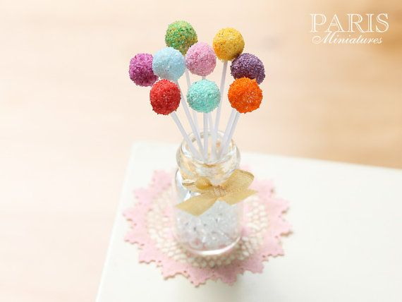 Rainbow Cake Pops  Miniature Food in 12th Scale $30