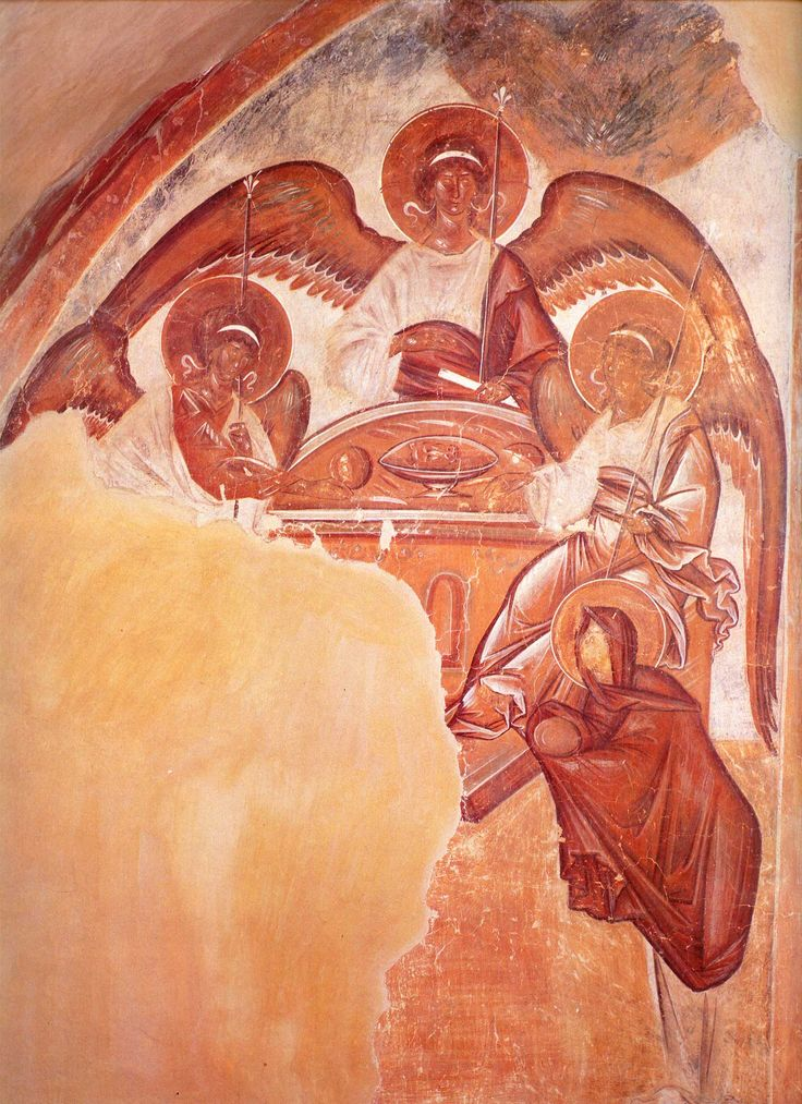 Theophanes the Greek. The Hospitality of Abraham (Old Testament Trinity). Fresco of Spas na Ilyine Church (The Church of Transfiguration of Christ) in Novgorod. 1378