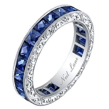 【Jewelry in My Box】Neil Lane French-cut Sapphire, Hand Engraved Platinum Band