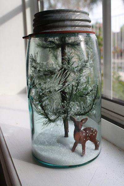 mason Jar Snow Globes & Terrariums Tutorial ... Best tutorial I've found. Gotta find a little gnome and white twig tree..
