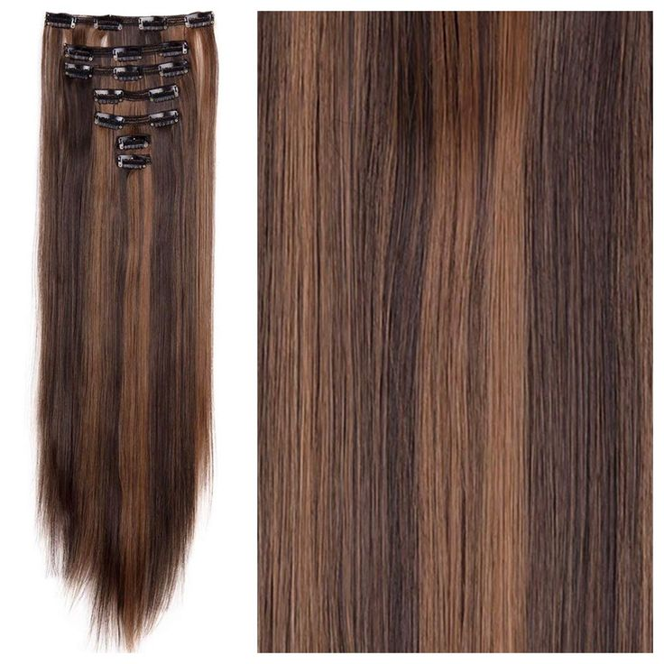 Brown Hair with Copper Highlights Hair Extensions – Straight Hair 24″ 165g