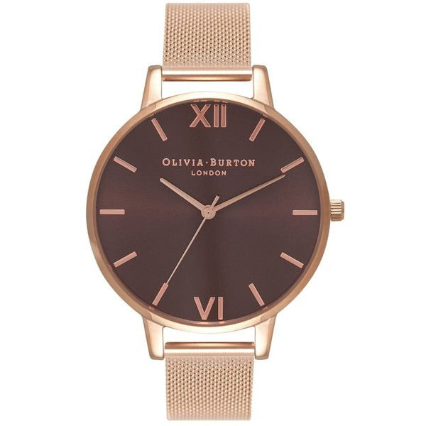 Olivia Burton Big Brown Dial Mesh Watch - Rose Gold found on Polyvore featuring jewelry, watches, accessories, rose gold, vintage rose gold jewelry, vintage wristwatches, olivia burton watches, quartz movement watches and vintage jewellery