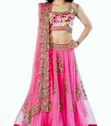 Buy Pink net embroidered  Semi-stitched lehenga choli lehenga-choli online
