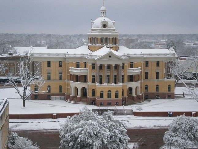 Marshall News Pics...our beautiful old historic Harrison County Courthouse during one of Marshall's rare snows on February 12, 2010.
