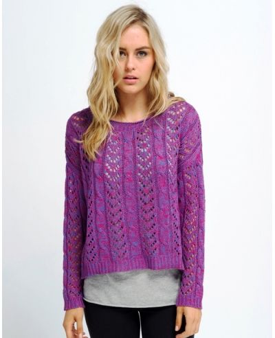 All About Eve Dainty Knit Jumper in Pink Purple