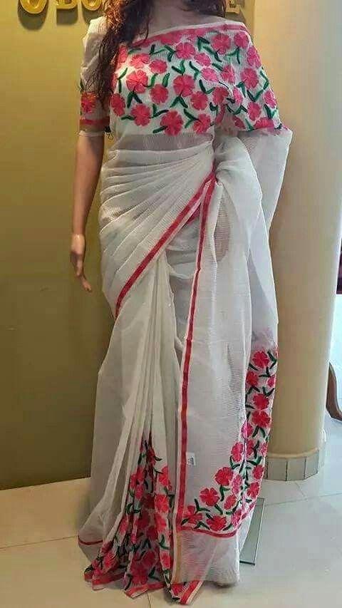 Supernet kota saree with aari work by naina nair, source facebook