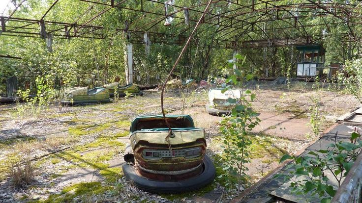 Abandoned bumper cars in Tsjernobyl.