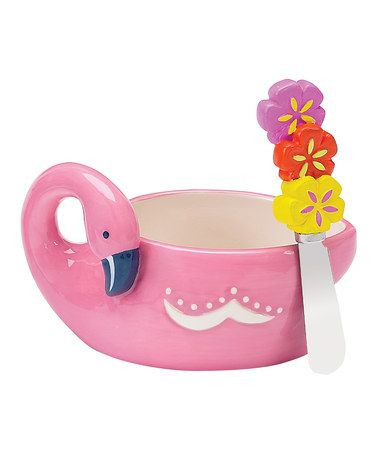 Take a look at this Flamingo & Friends Dip Bowl & Spreader by Boston Warehouse on #zulily today!