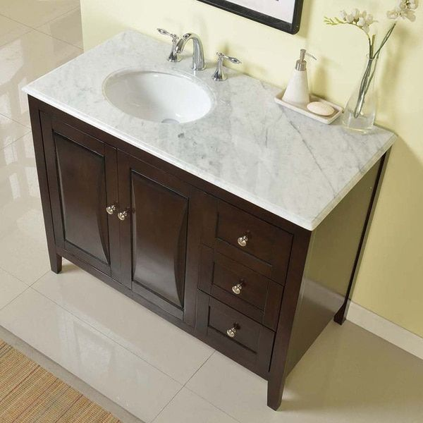 Silkroad Exclusive 45 Inch Carrara White Marble Top Bathroom Off Center  Single Sink Vanity (Carrara White Marble Top), Brown, Size Single Vanities