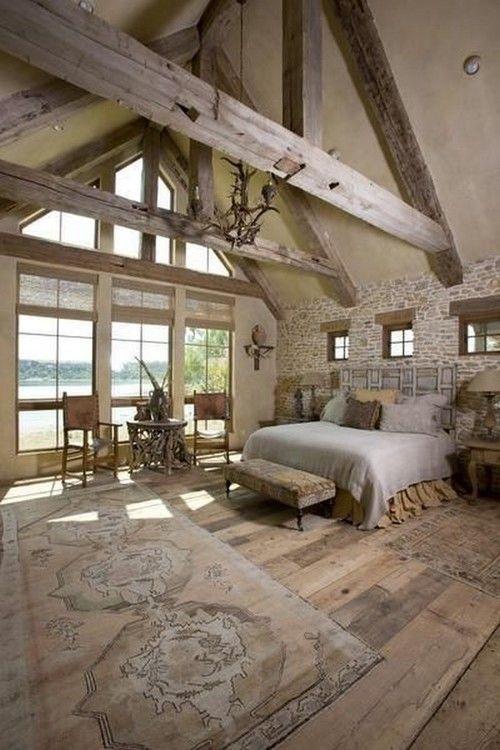 Antique beams in a bedroom