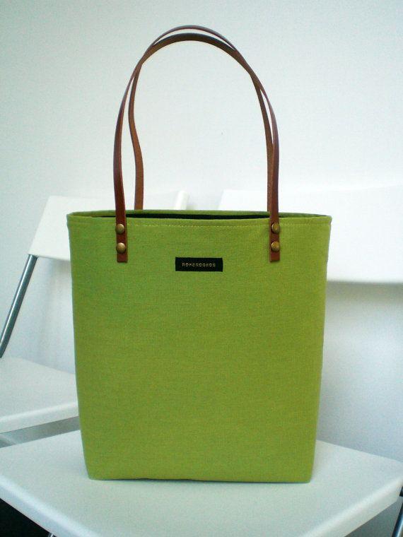 Spring green Handbag Tote / Leather straps / your initials/ bag tote canvas / Summer, handbag, purse / Tote fabric bag. Retro . Fashion. on Etsy, $53.19